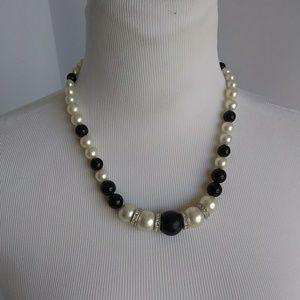 Black & White Beads with Rhinestone Ring  Necklace